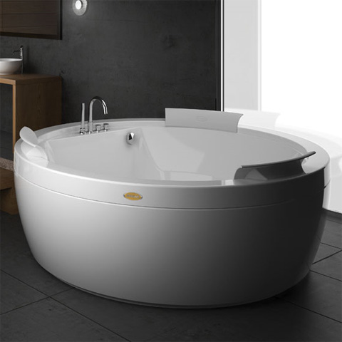 Jacuzzi NOVA freestanding round whirlbath white, with TOP AQS-System