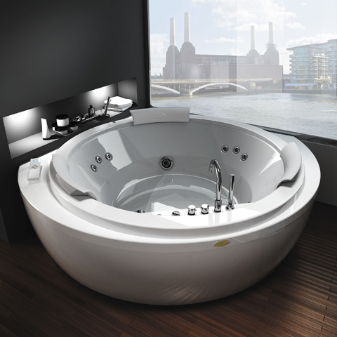 Jacuzzi NOVA round corner whirlbath with panelling white, with TOP AQS-System