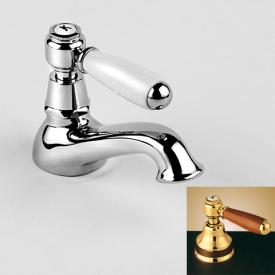 Jörger Delphi pillar tap with wooden lever without waste set, chrome/brown
