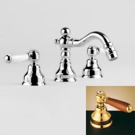 Jörger Delphi three hole bidet mixer with pop-up waste set chrome/brown