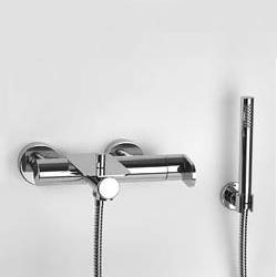 "Jörger Plateau exposed, single lever bath and shower mixer 1/2"", with shower assembly"