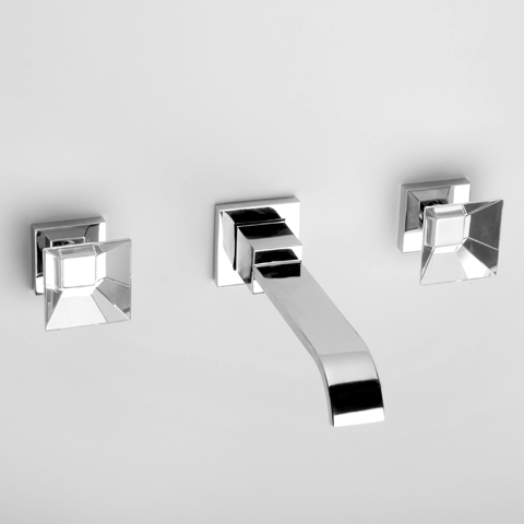 Jörger Empire Royale wall-mounted three hole basin mixer, trim set projection: 210 mm, chrome