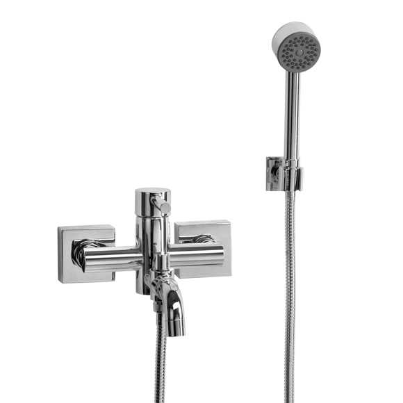 Jörger Charleston Square bath inlet and shower assembly with hand shower chrome