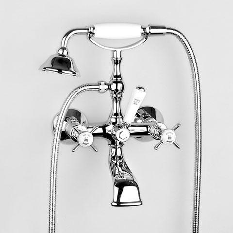 "Jörger Series 1909 bath and shower mixer 1/2"" with shower set chrome"