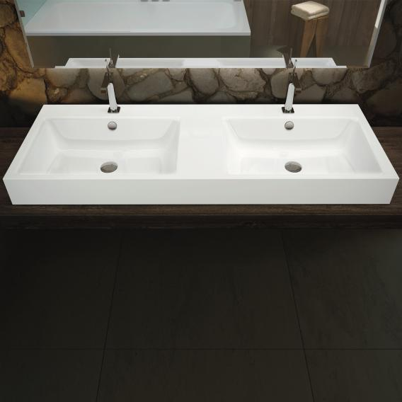 Kaldewei Puro double washbasin white, with 2 tap holes