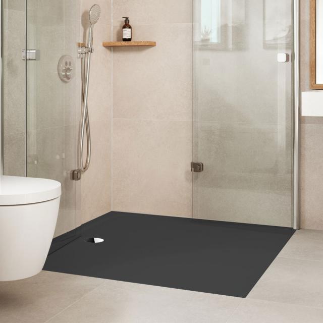 Kaldewei Cayonoplan Multispace square shower tray matt black, with Secure Plus