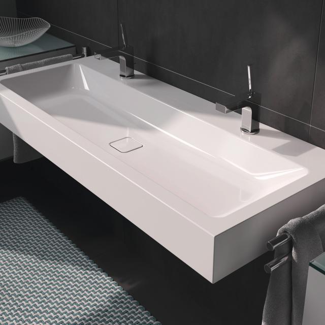 Kaldewei Cono double washbasin white, with 2 tap holes