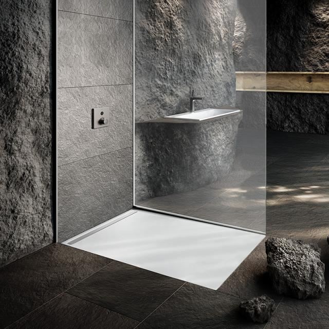 Kaldewei Nexsys floor-level shower element complete set matt white, with Secure Plus, with ultra flat waste