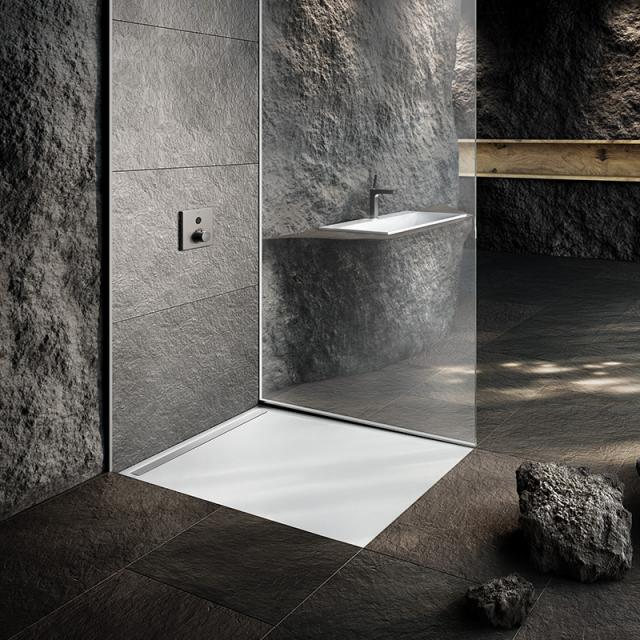 Kaldewei Nexsys floor-level shower element complete set white with easy-clean finish, with standard waste