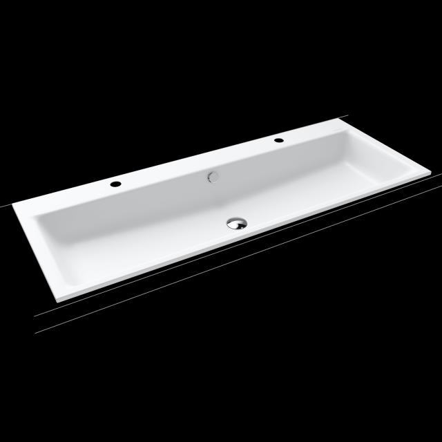 Kaldewei Puro double drop-in washbasin white, with 2 tap holes