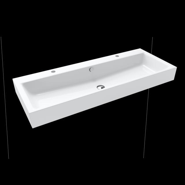 Kaldewei Puro double washbasin white, with 2 tap holes