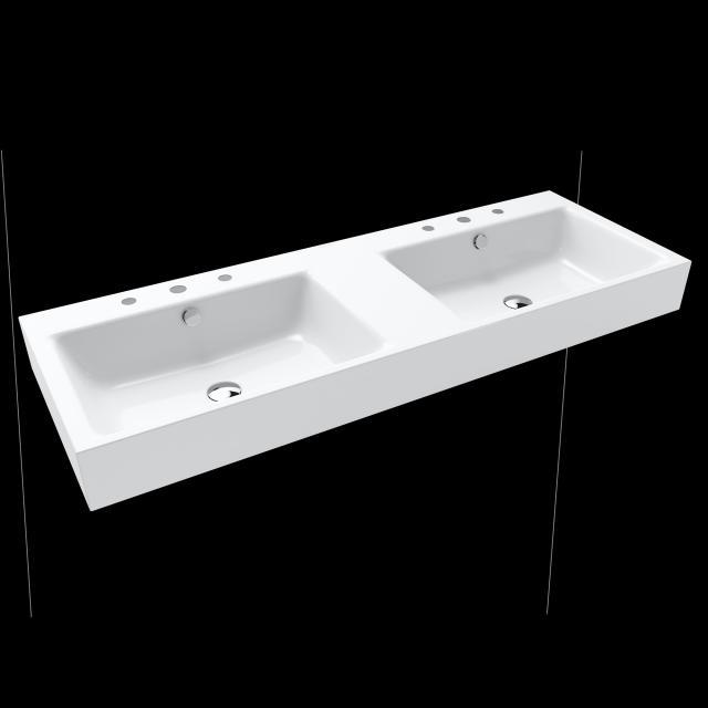 Kaldewei Puro double washbasin white, with 6 tap holes