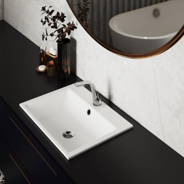 Kaldewei Puro drop-in washbasin white, with 1 tap hole