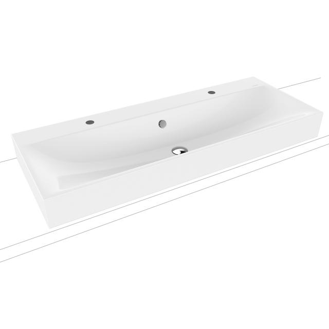 Kaldewei Silenio double countertop washbasin white, with 2 tap holes, with overflow