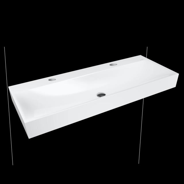 Kaldewei Silenio double washbasin white, with 2 tap holes, without overflow