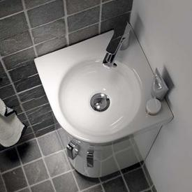 Geberit Renova Compact  corner hand washbasin white, with KeraTect
