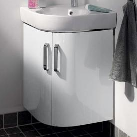 Geberit Renova Compact  corner vanity unit for hand washbasin front white high gloss / corpus matt white