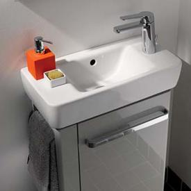 Geberit Renova Compact  hand washbasin with right tap hole white, with KeraTect