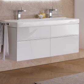 Geberit Xeno² Meuble sous-lavabo pour lavabo double avec 4 tiroirs Façade blanc ultra brillant/corps du meuble blanc ultra brillant