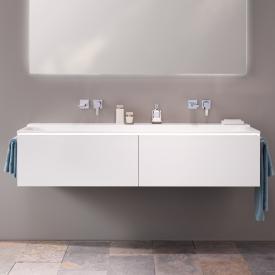 Geberit Xeno² Meuble sous-lavabo pour lavabo double avec 2 tiroirs Façade blanc mat/corps du meuble blanc mat