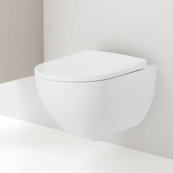 Geberit Acanto wall-mounted washdown toilet, rimless white, with KeraTect