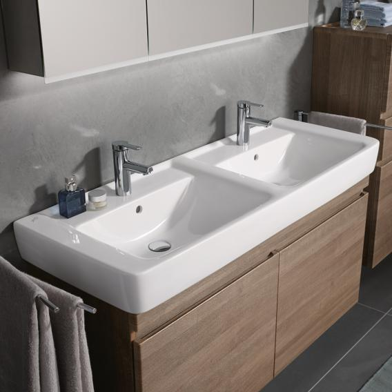 Geberit Renova Plan double washbasin white, with KeraTect, with 2 tap holes