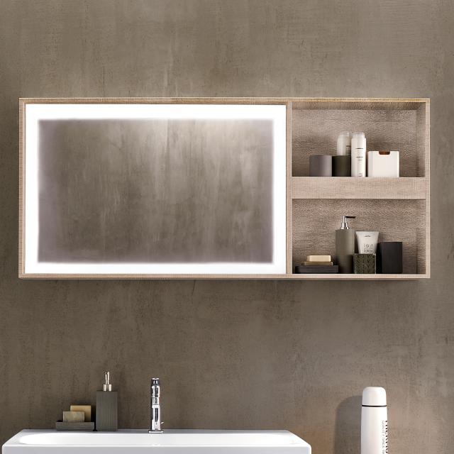 Geberit Citterio illuminated mirror element with shelf rack natural beige/mirrored