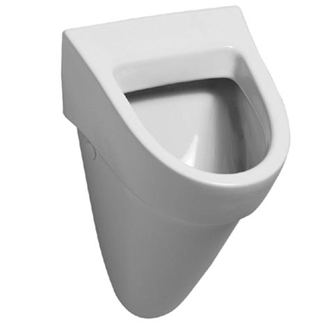 Geberit Flow urinal, rear supply white, with KeraTect