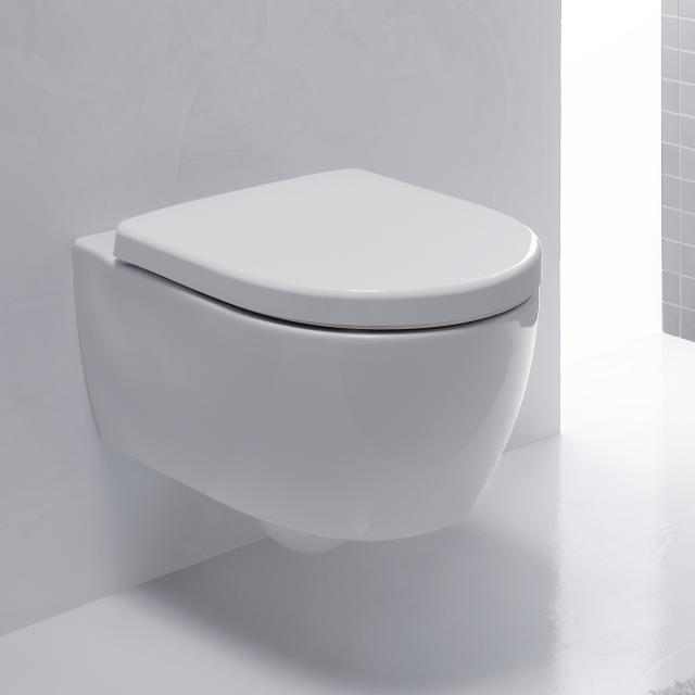 Geberit iCon wall-mounted washdown toilet, short version rimless, white, with KeraTect