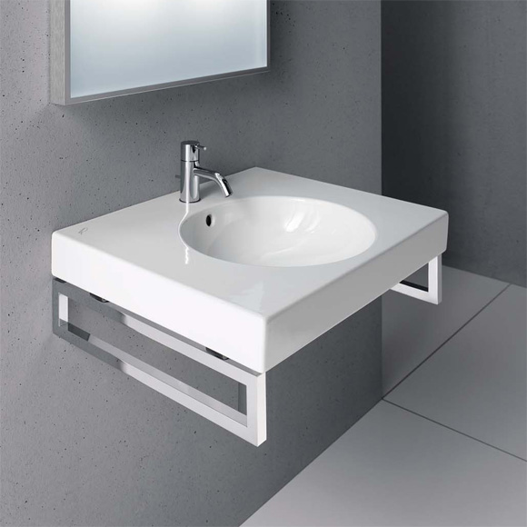 Geberit Preciosa II washbasin white, with 1 tap hole, with overflow