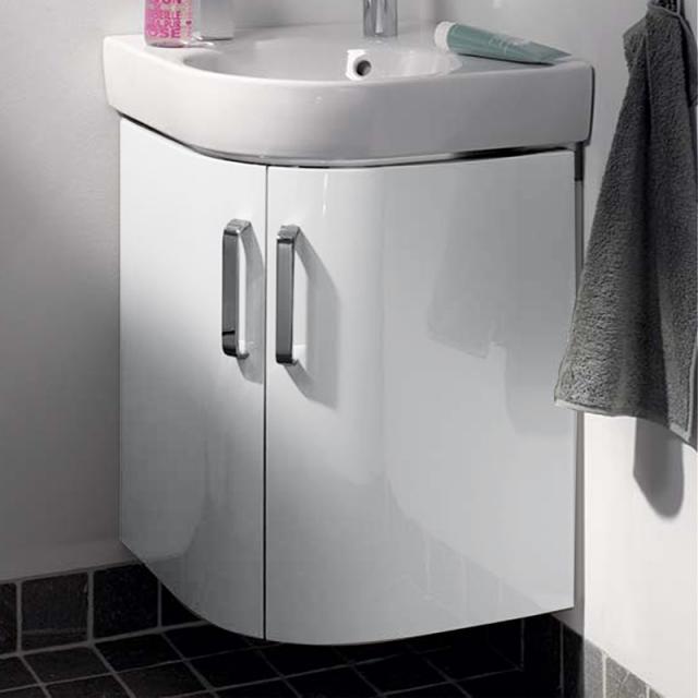 Geberit Renova Compact corner vanity unit for hand washbasin front white high gloss / corpus matt white