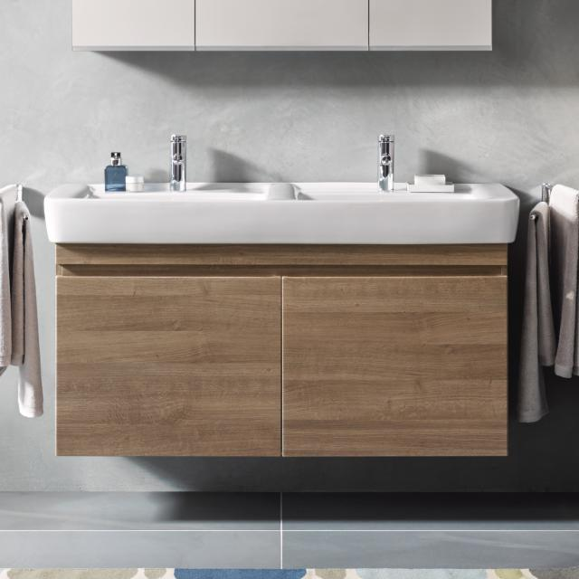 Geberit Renova Plan vanity unit for double washbasin with 2 pull-out compartments front dark natural oak / corpus dark natural oak