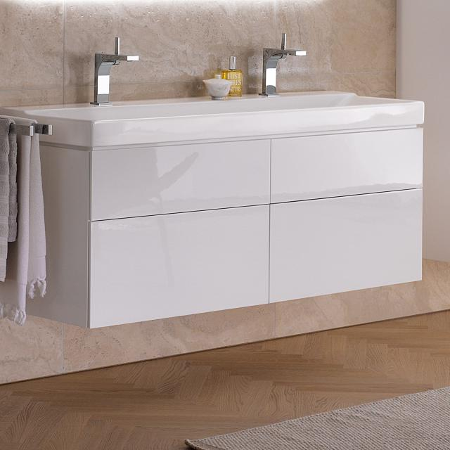 Geberit Xeno² vanity unit for double washbasin with 4 pull-out compartments front white high gloss / corpus white high gloss