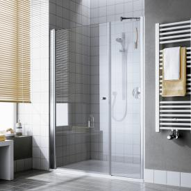 Kermi Atea hinged door, 1 wing with fixed panel TSG transparent with KermiClean / silver high gloss