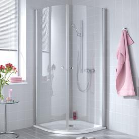 Kermi Atea quadrant with hinged doors TSG transparent with KermiClean / silver high gloss