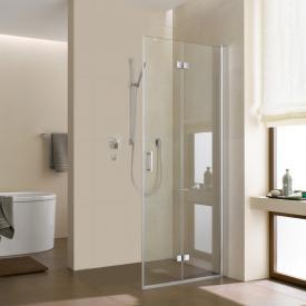 Kermi Diga corner entry hinged bi-fold door TSG clear with KermiClean / silver high gloss