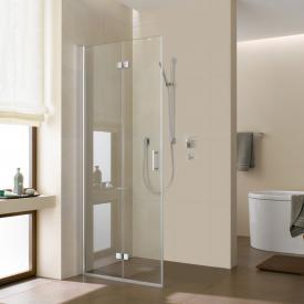 Kermi Diga hinged bi-fold door for side panel TSG clear / silver high gloss