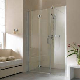 Kermi Diga hinged bi-fold door with fixed panel in recess TSG clear / silver high gloss