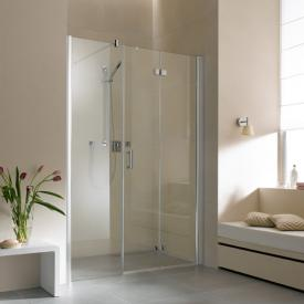 Kermi Diga hinged bi-fold door with fixed panel in recess TSG clear with KermiClean / silver high gloss