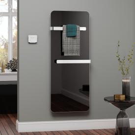 Kermi Elveo heating panel black/aluminium, 400 Watt, with electric set WRX/white