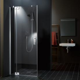 Kermi Filia XP hinged door 1-wing and fixed panel TSG clear with KermiClean / silver high gloss