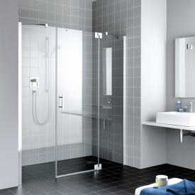 Kermi Filia XP hinged door 1-wing and fixed panels TSG clear with KermiClean / silver high gloss