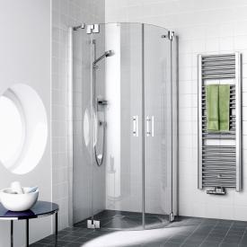 Kermi Filia XP hinged doors with fixed panels, quadrant TSG clear with KermiClean / silver high gloss