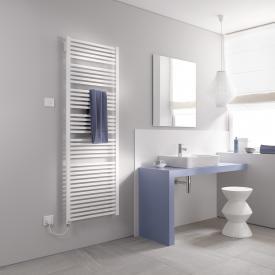 Kermi Geneo quadris-E radiator for electric operation only, with electric set WKS white, electric set WKS left