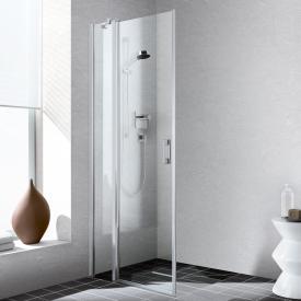 Kermi Liga corner entry 2-part, hinged door with fixed panel, one half TSG clear / matt glossy silver