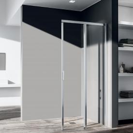 Kermi Liga corner entry 2-part floor level, sliding door, one half TSG clear / matt glossy silver