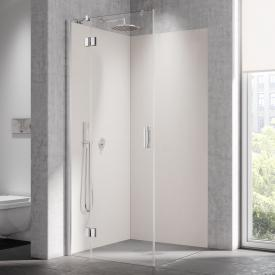 Kermi Liga corner entry 2-part, swing door with fixed panel TSG clear with KermiClean / silver high gloss