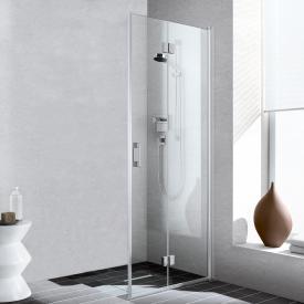Kermi Liga corner entry 2-part, bi-fold door, one half TSG clear with KermiClean / matt glossy silver