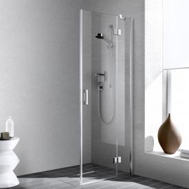Kermi Liga corner entry 2-part, swing door with fixed panel, one half TSG clear / silver high gloss