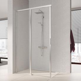 Kermi Liga corner entry sliding door, 2-part, floor-level TSG clear / matt glossy silver